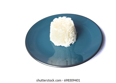 Rice in plate on white background