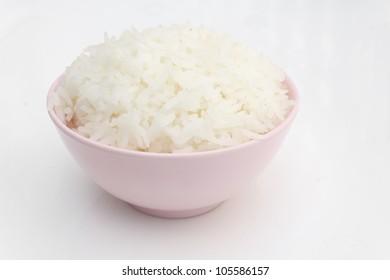 Rice in porcelain bowl