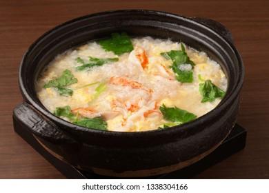rice porridge with crab.