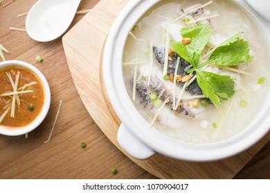 Rice porridge with fish.