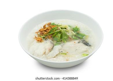 Rice porridge with fish isolated on white background