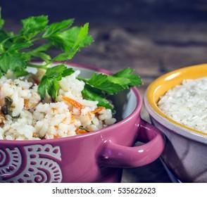Rice porridge and rice in plates