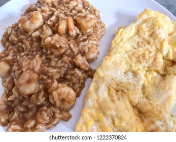 Rice with prawn and french omelette