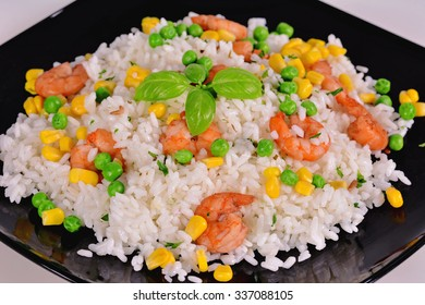 Rice with prawns on a white background