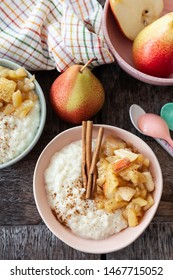 Rice pudding with apple compote and cinnamon