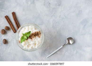 Rice Pudding with Cinnamon and Nutmeg. Healthy traditional homemade dessert or breakfast - Rice Pudding, copy space.