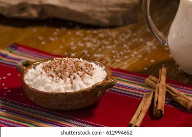 Rice pudding in a clay bowl, called (arroz con leche)