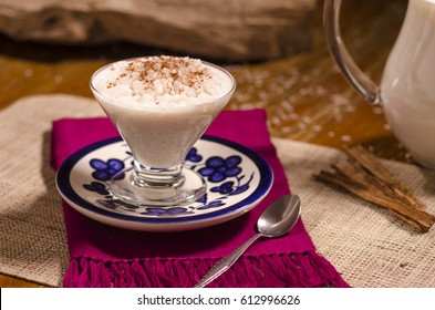 Rice pudding in a glass cup.(arroz con leche)
