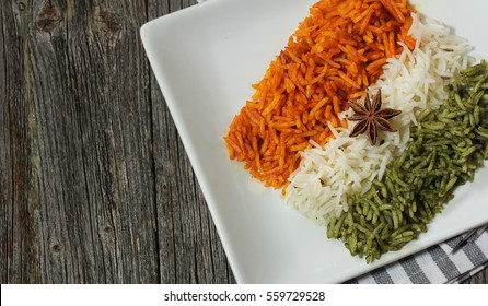 Rice Pulao in Indian flag color / Indian republic day food /   Tiranga(Tri color) rice