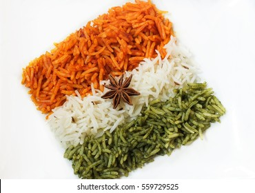 Rice Pulao in Indian flag design / Indian republic day food /   Tiranga(Tri color) rice isolated on white, selective focus
