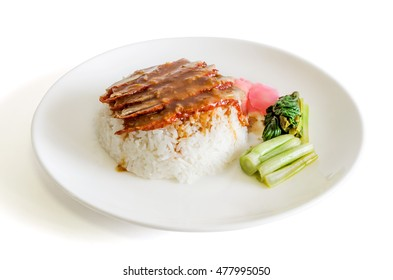 Rice with roast duck on wooden table. thai food.