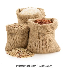 rice in sack bag on white background