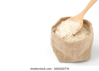 Rice in sack on white background