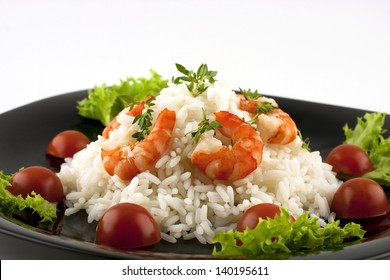 rice with shrimp with decoration