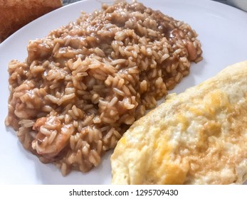 Rice with shrimps and French omelette