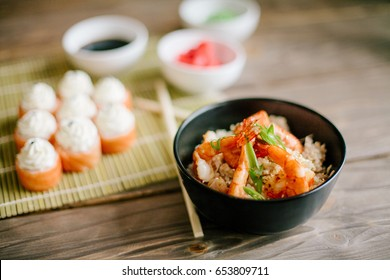 rice with shrimps and suchi