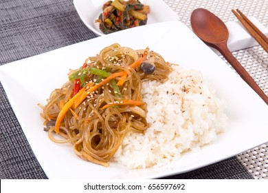 Rice with Stir-fried Glass Noodles and Vegetables -  Japchae Bap
