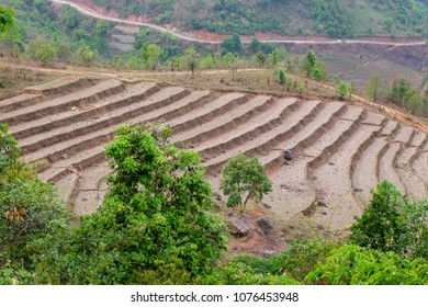 Rice terraces ready for planting in Shan State, Myanmar