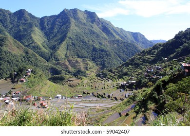 Rice terrases and mountain in Batad near Banaue