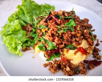 Rice topped with Stir fried thai basil with minced pork and omelette