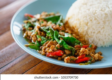 Rice topped with stir-fried pork and basil, Thai food