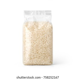 Rice in transparent plastic bag isolated on white background. Packaging template mockup collection. With clipping Path included. Stand-up Front view.