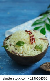 Rice Upma /Puttu served in coconut shell, selective focus