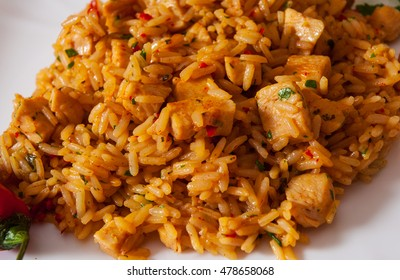 Rice with Vegetables and Meat in a plate