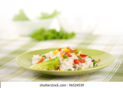 Rice and vegetables on a plate
