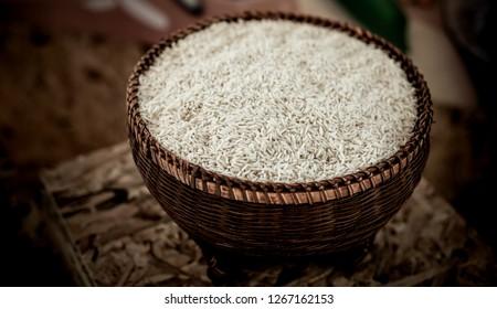 Rice in vintage basket, Healthy food