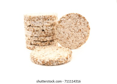 Rice, wheat bread isolated over white background