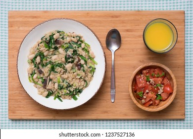 Rice and White Bean Pilaf with Spinach and Shiitake Mushrooms, served with Tomato Salad