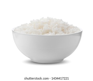 rice in white bowl on white background