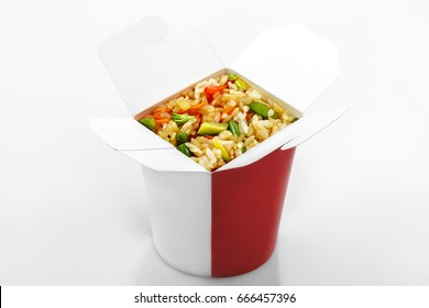 rice wok with vegetables in  box on white background