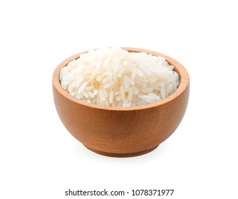 rice in wood bowl isolated on white background