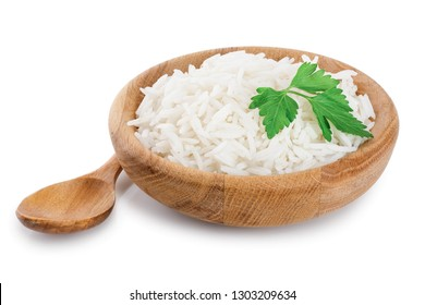 rice in a wooden bowl isolated on white background. Top view. Flat lay