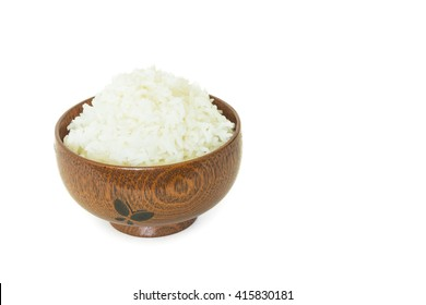 rice in wooden bowl  on white background