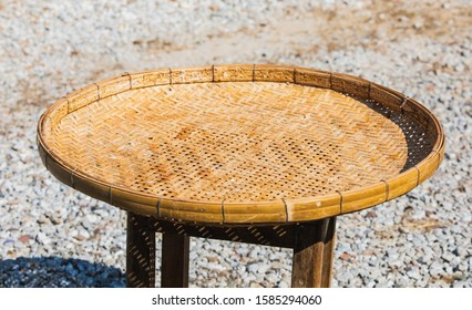Rice-winnowing basket or Threshing basket, Asian equipment to dry plant products.