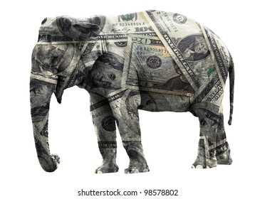 Rich adult elephant coated in dollar banknotes. Isolated on white