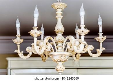 Rich Baroque Classic chandelier close up. Luxury decor accessory designs