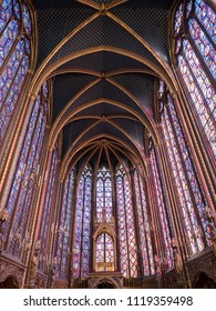 Rich and beautiful decorated interior of the Gothic Medieval Sainte Chapelle - a royal chapel in Paris, France. June, 2018