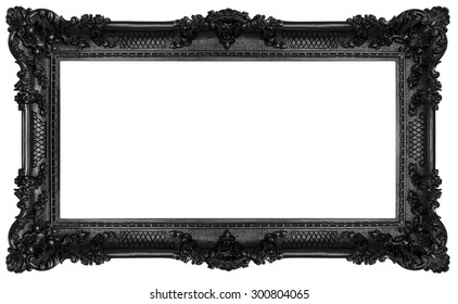 Rich black frame isolated on white background. Clipping paths included.