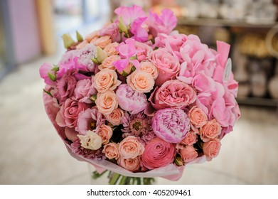 Rich bunch of white and pink roses,  peonies bouquet