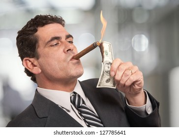 Image result for lighting cigar with money