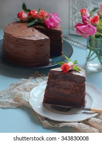 Rich Chocolate Layered Cake. Selective Focus
