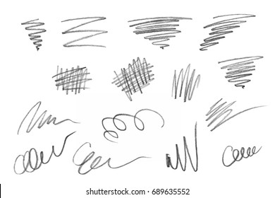 Rich collection of various pencil strokes, isolated on white background