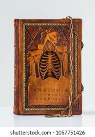 """Rich decorated handmade leather bound journal named """"Anatomia humani corporis"""" - front view"""