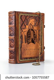 """Rich decorated handmade leather bound journal named """"Anatomia humani corporis"""" - view from the left side"""