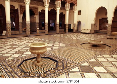 Rich decorated interior of Marrakech museum, Morocco