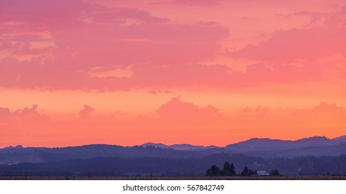 Rich, deep pastel colored sky and landscape with lots of copy space.